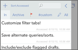 Drafts 4.3 - Saved Filters, Append from Share, More